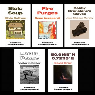 The covers of the first five editions of Colossive Cartographies, by Oliva Sullivan, Sean Azzopardi, Jane Gibbens Murphy, Victoria Sellar and David Bray. Lucy Sullivan's cover to follow